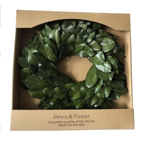 "Preserved Magnolia Leaf Wreath 20"""