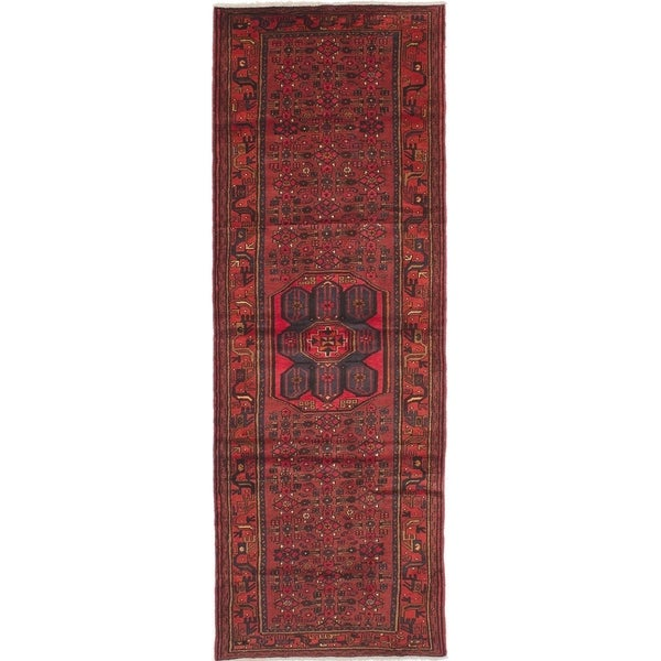 eCarpetGallery Hand-knotted Hamadan Red Wool Rug - 3'5 x 10'1