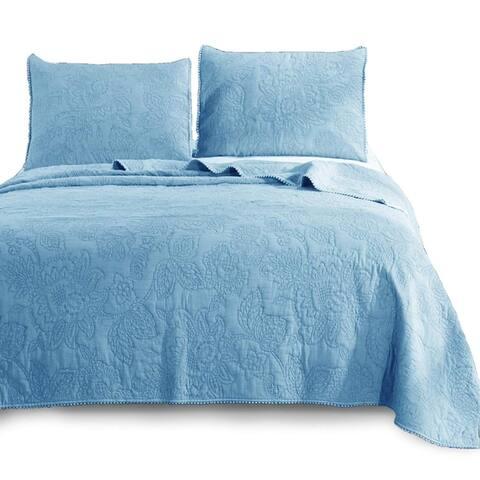 Kasentex Ultra Soft Stone-Washed Quilt Set 100-percent Cotton Floral Design Lace Trim