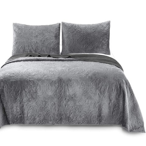 Kasentex Ultra Soft Stone-Washed Quilt Set 100-percent Cotton Floral Velveteen