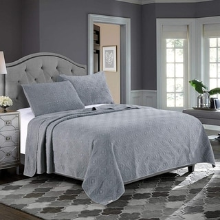 Kasentex Ultra Soft Stone-Washed Quilt Set 100-percent Cotton Diamond Design