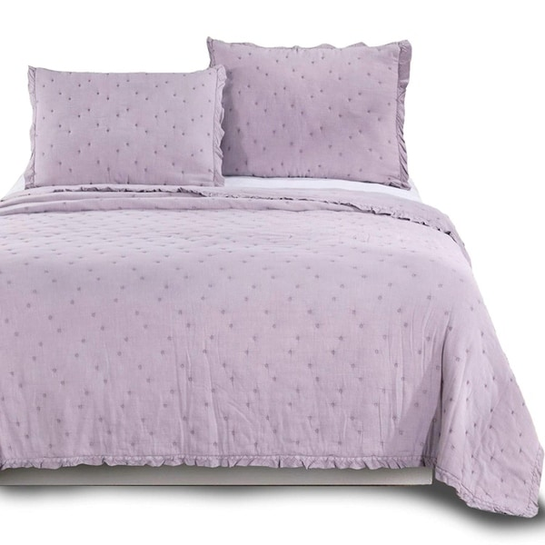 Kasentex Ultra Soft Stone-Washed Quilt Set 100-percent Cotton Ruffled Trim. Opens flyout.