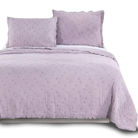 Kasentex Ultra Soft Stone-Washed Quilt Set 100-percent Cotton Ruffled Trim