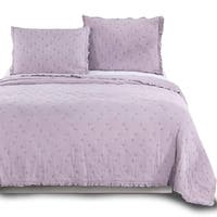 Kasentex Ultra Soft Stone-Washed Quilt Set 100-percent Cotton Ruffled Trim