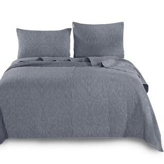 Kasentex Ultra Soft Stone-Washed Quilt Set 100-percent Cotton Floral Design