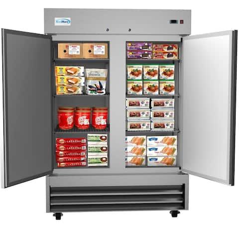 KoolMore 54-Inch 2 Door Stainless Steel Reach in Commercial Freezer 47 cu. ft.