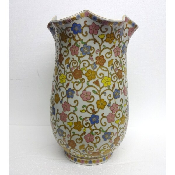 Spring Bloosom Vase w/ Gold Vine Scrolls