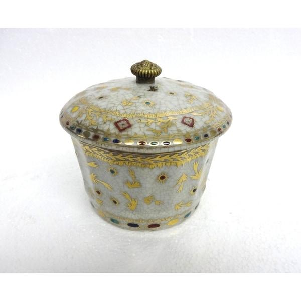 Golden Hays Round Porcelain Cover Jar