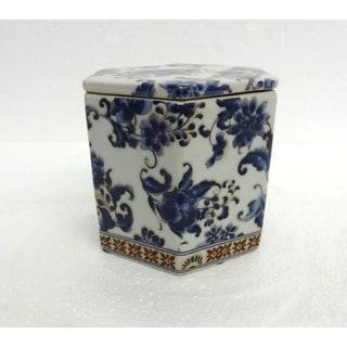 Blue & White Hex Cover Jar
