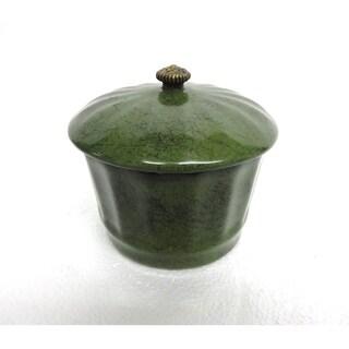 Green Porcelain Round Cover Jar w/ Black Speckles