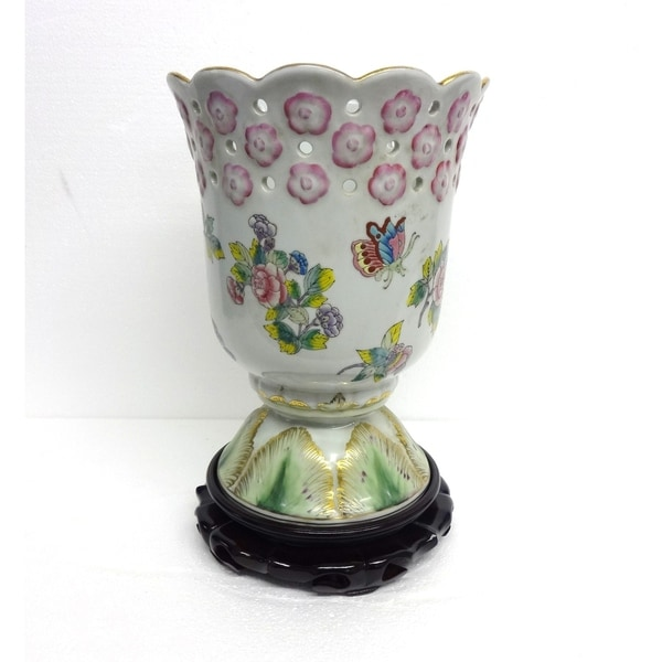 Floral Design Champion Cup Vase w/ Stand