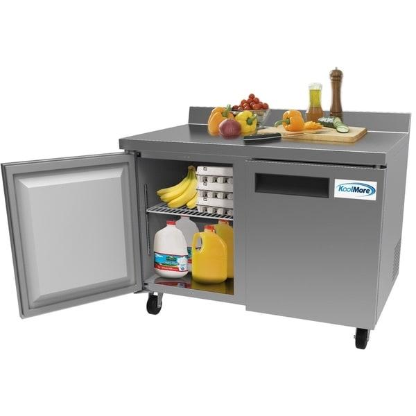KoolMore 48-Inch 2 Door Stainless Steel Worktop Commercial Refrigerator 12 cu. ft.