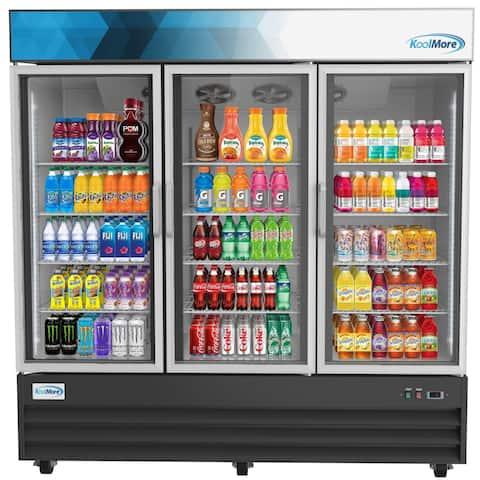 """Koolmore 78 1/4"""" Commercial 3 Glass Door Display Refrigerator Merchandiser - 53 Cu. Ft."""