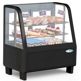 "Commercial  27"" Countertop Refrigerated Display Case with LED Lighting - 3.6 cu. ft. Capacity - Black"