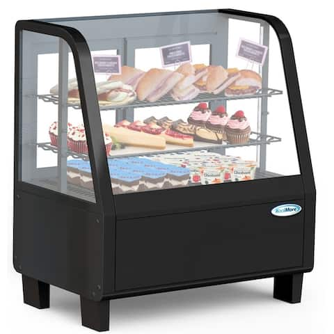 """Commercial 27"""" Countertop Refrigerated Display Case with LED Lighting - 3.6 cu. ft. Capacity - Black"""