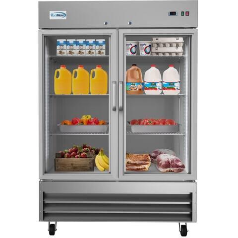 KoolMore 54-Inch 2 Glass Door Reach in Commercial Refrigerator 47 cu. ft.