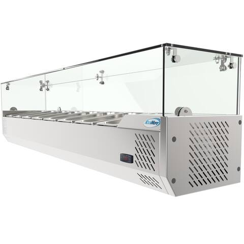 """KoolMore 71"""" Countertop Condiment Refrigerated Prep Station with Glass Sneeze Guard"""
