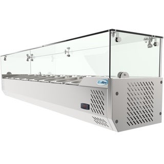 "KoolMore 71"" Countertop Condiment Refrigerated Prep Station with Glass Sneeze Guard"