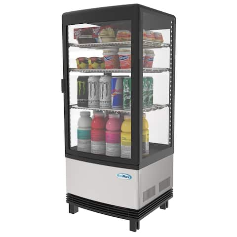 KoolMore Countertop Commercial Stanless Steel Refrigerator Display Case - 3 cu. ft