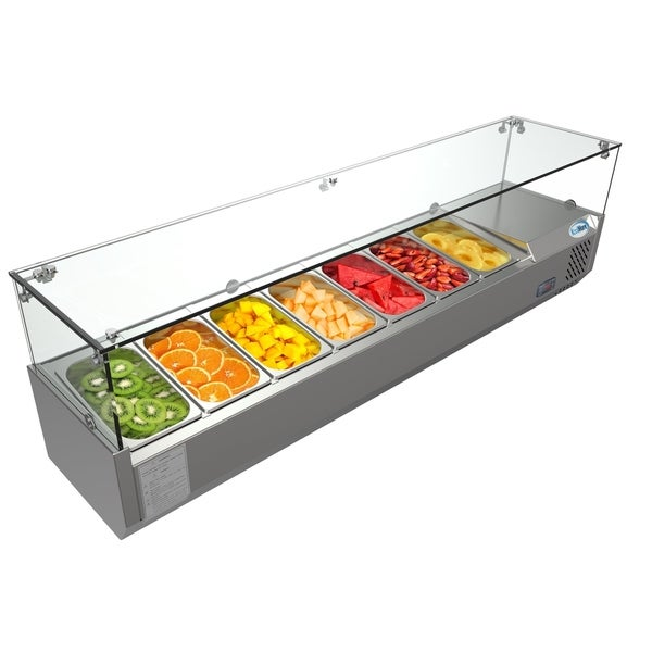 "KoolMore 59"" Countertop Condiment Refrigerated Prep Station with Glass Sneeze Guard"