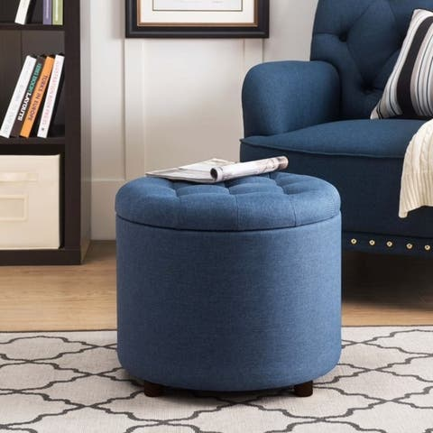 Sunjoy Linen Upholstered Storage Ottoman with Convertible Serving Tray