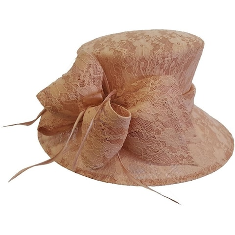 58a0a87a38d9b Women s Lace Covered Straw Sinamay Church Dressy Blush Hat