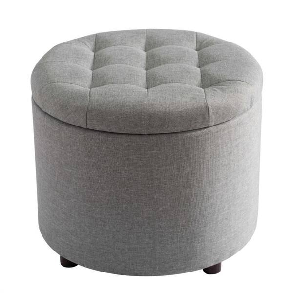 Marvelous Shop Sj Collection Round Gray Tufted Ottoman With Tray Machost Co Dining Chair Design Ideas Machostcouk