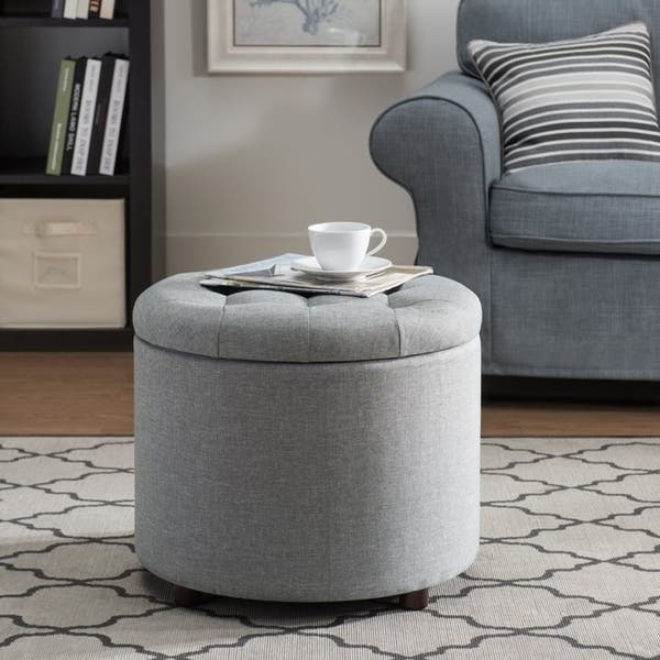 Shop Sj Collection Round Gray Tufted Ottoman With Tray Free