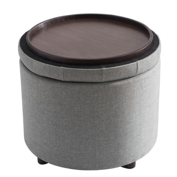 Incredible Shop Sj Collection Round Gray Tufted Ottoman With Tray Bralicious Painted Fabric Chair Ideas Braliciousco