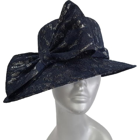 d390df7afb7 Women's Navy/Silver Synamay Straw Hat with a Unique Lace Covering