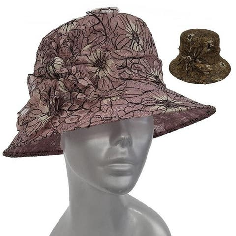 Women's Adjustable Synamay Straw Hat Covered in a Unique Lace
