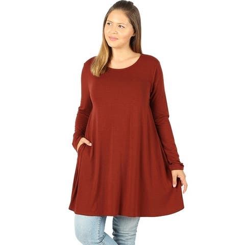 JED Women's Plus Size Stretchy Knit Long Sleeve Swing Tunic Top