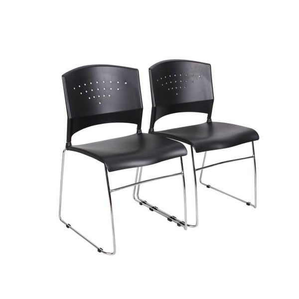 Boss Black Stack Chair With Chrome Frame (2-Pack)