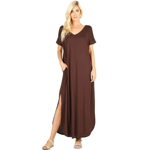 JED Women's V-Neck Short Sleeve Maxi Dress w/ Slits