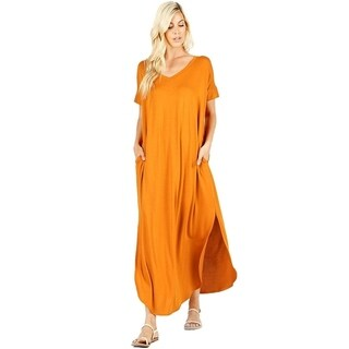 JED Women's V-Neck Short Sleeve Maxi Dress w/ Slits