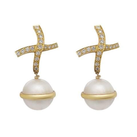 """18K Yellow Gold Dimaond & Pearl """"X"""" Drop Estate Earrings"""