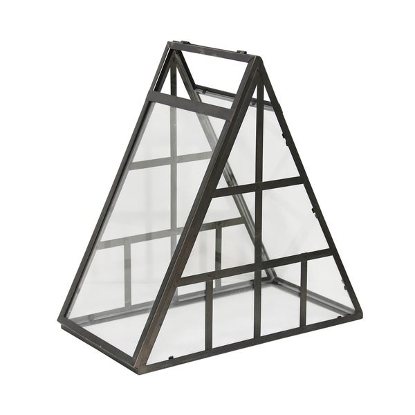 Carbon Loft Pentaur Triangular Glass and Metal Mini Green House with Flip Open Side Table Top Accessory