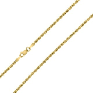 10K Yellow Gold 2MM Sparkle Rope Chain With Lobster Clasp 16 Inch
