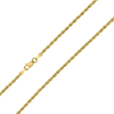 10K Yellow Gold 2MM Sparkle Rope Chain With Lobster Clasp - 20 Inch