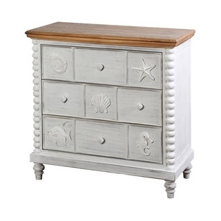 Montauk Two Tone Finish Three Drawer Ocean Motif Chest