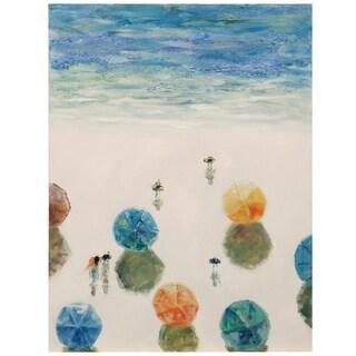 Beach Umbrella Crew Textured Hand Painted Coastal Sun Umbrellas Wall Art On Stretched Canvas Overstock 27649170