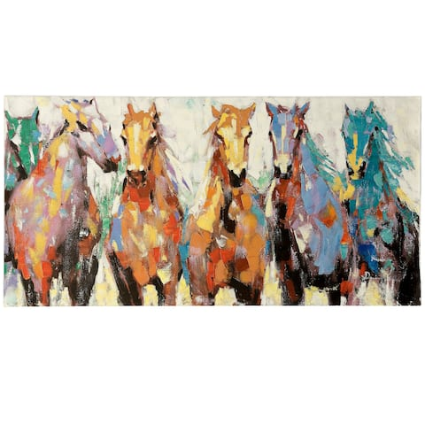 Porch & Den 'Race Ready Horses' Hand-embellished Stretched Canvas Print Wall Art