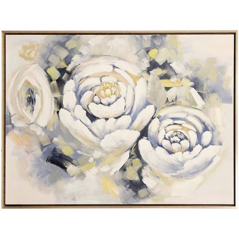 Carson Carrington Posy Peonies Hand Embellished Floral Print Wall Art