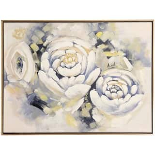 Posy Peonies Hand Embellished Floral Print Wall Art on Framed Canvas