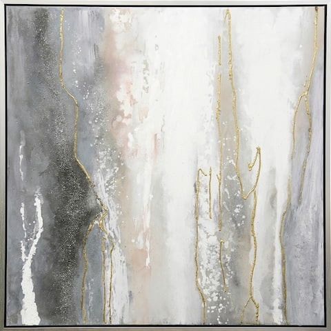 Hand Painted Veins of Gold Abstract Wall Art on Framed Canvas