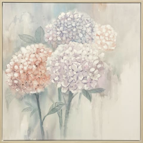 Silver Orchid Hand-painted Hydrangeas Wall Art
