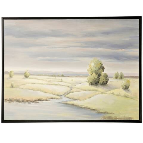 The Gray Barn Field Brook Hand Embellished Landscape Print on Framed Canvas
