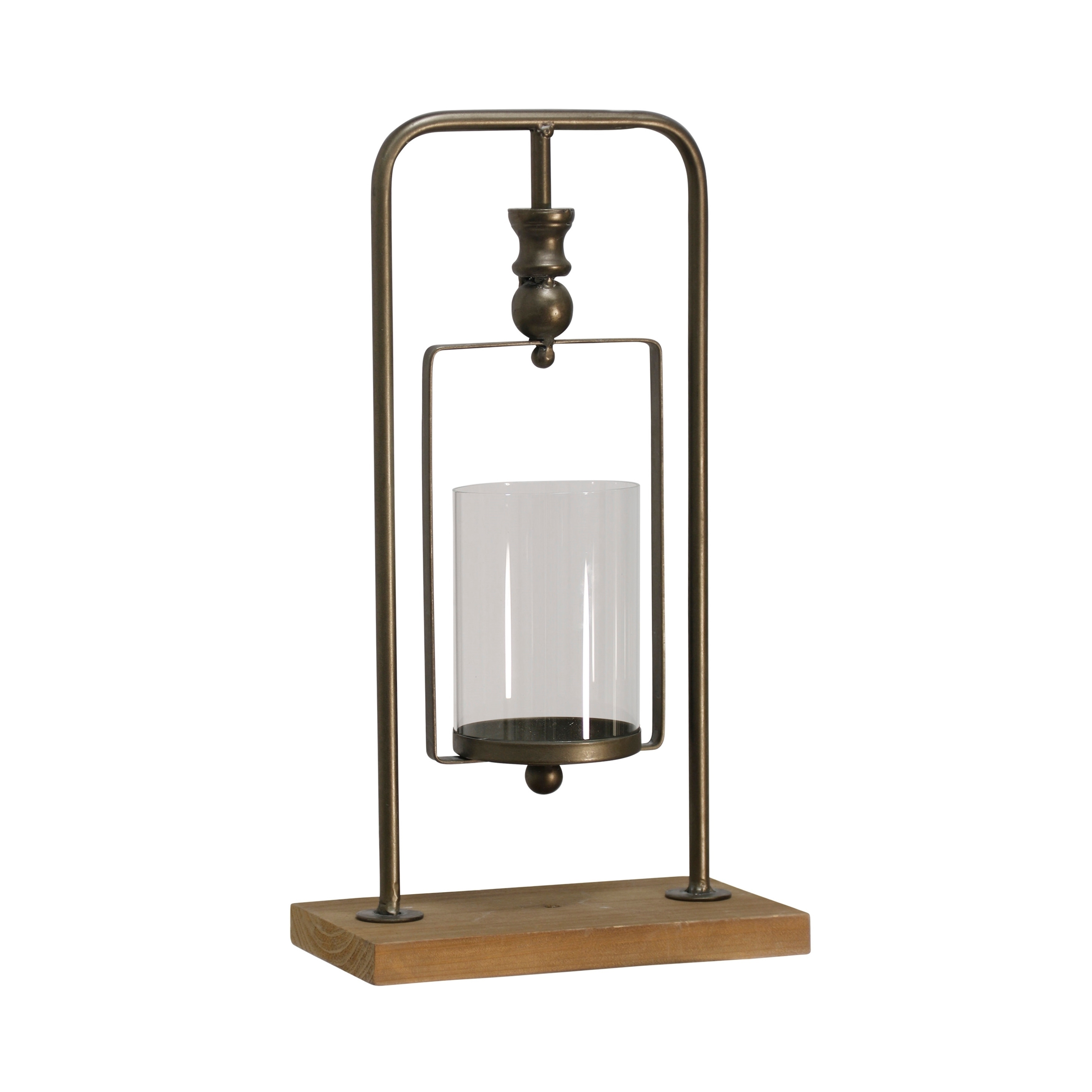 Natural Gold Tall Suspended Cylinder Glass Candle Holder on Metal Bracket with Knob Detail and Wood Base