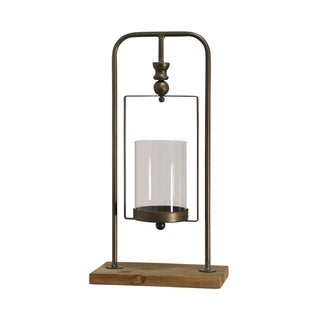 Natural Gold Short Suspended Cylinder Glass Candle Holder on Metal Bracket with Knob Detail and Wood Base