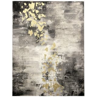 Strick & Bolton Hand-painted Oil/ Gold Leaf Abstract Wall Art